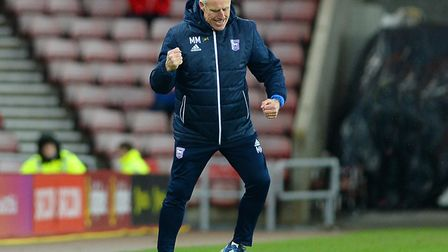 McCarthy celebrates a 2-0 win at Sunderland in early February. Photo: Pagepix