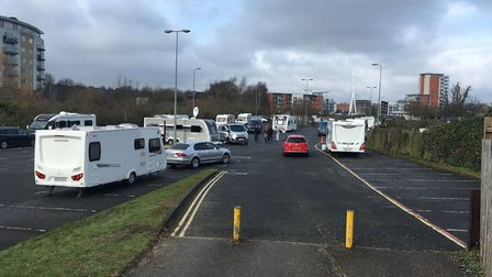 Travellers in the West End Road car park last week. Picture: ARCHANT
