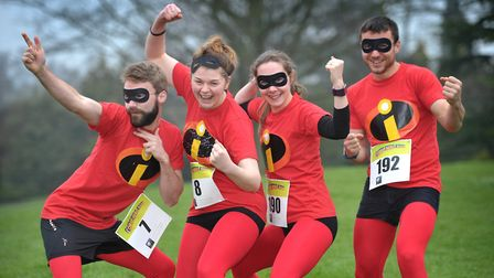 Michael Greenfield, Lauren Hart, Faye Mansfield and Cameron Mitchell at the Comic Hero Run for St He
