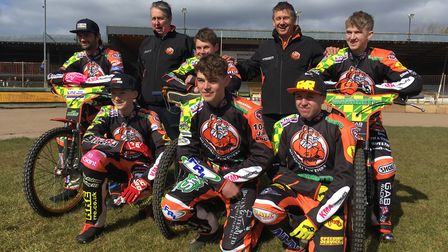 Mildenhall 2018 - Back row Left to right: Danny Ayres, Phil Kirk (team manager), Josh Bailey, Kevin