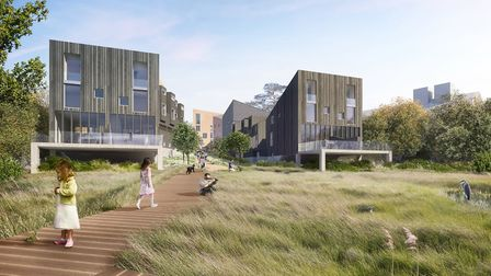 A CGI view of the proposed homes as seem across the meadow fropm the riverside end of the site at Me
