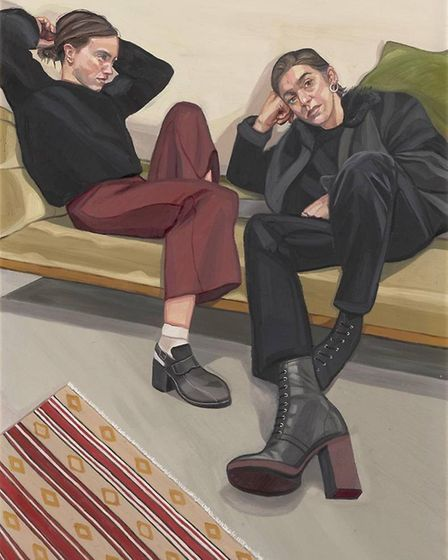 A Portrait of Two Female Painters by Suffolk artist Ania Hobson which has been shortlisted for this