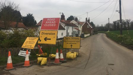 Signs showing the closure of Fairfield Road, Framlingham, Picture: ANDREW HIRST