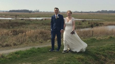 Rob and Erin Wilton on their wedding walk at Carlton Marshes nature reserve. The American bittern wa