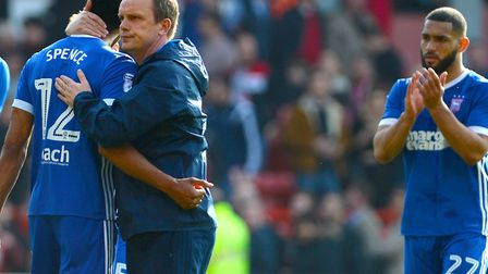 Ipswich caretaker manager Bryan Klug consoles Jordan Spence after the last minute defeat to at Notti