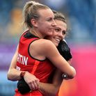 England's Hannah Martin (left) and Anna Toman celebrate victory against India. Picture: PA SPORT