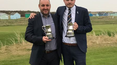 TRIUMPH: John Blackmore (left) and Ben Sayers of Felixstowe Ferry with their trophies after winning