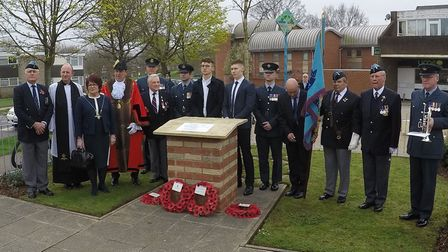 Those who attended the rededication of the Luke Southgate memorial including Earnie Broom of the How