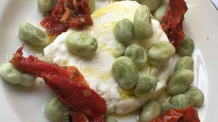 The starter: buffalo mozzarella served with sun blushed tomatoes, broad beans and an olive oil dress