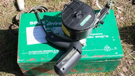 Spax dry-lining gun in green box recovered by Suffolk police. Picture: SUFFOLK CONSTABULARY