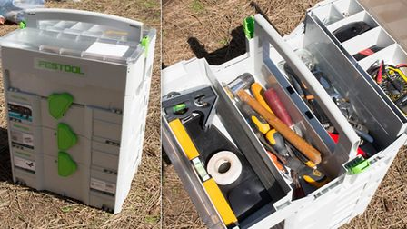 Festool power tool set in grey drawers recovered by Suffolk police. Picture: SUFFOLK CONSTABULARY