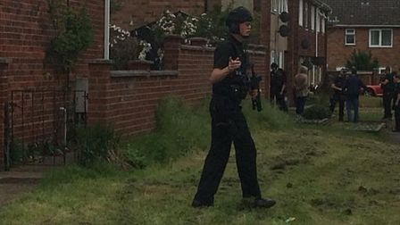 Armed police and a police helicopter were called to Bungay following a threat. Picture: Mick Burr