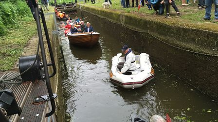 Passing through the restored lock at Stratford St Mary. Picture: ROSS BENTLEY