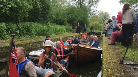A flotilla of boats, canoes and kayaks mark the official opening of Straford St Mary lock by passing