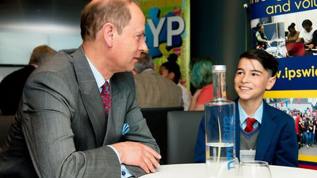 The Earl of Wessex meets Ionathan Tannasa from Ipswich Community Media. Picture: SIMON LEE