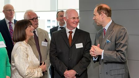 The Earl of Wessex spoke with guests Linda and Steve Wooldridge and Clive Emerson . Picture: SIMON L