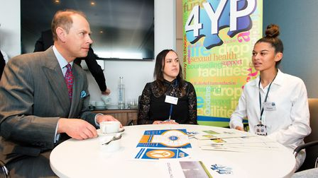The Earl of Wessex speaks with 4YP's Young Peoples Coordinator and Keyara. Picture: SIMON LEE