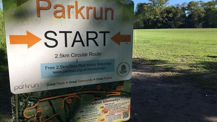 The permanent sign for the Frimley Lodge parkrun, which was held for the 431st time last Saturday.