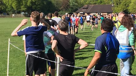 The winding procession of runners in the finish funnel at last Saturday;s Frimley Lodge parkrun. The