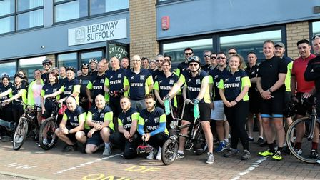 More than 60 people took part in the annual cycle and walk for Headway Suffolk. Picture: CEDRIC FAIR