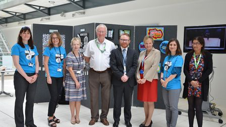 Julie Flatman (MSDC), Tony Goldson (SCC), Arthur Charvonia and Sue Cook with volunteers who were inv