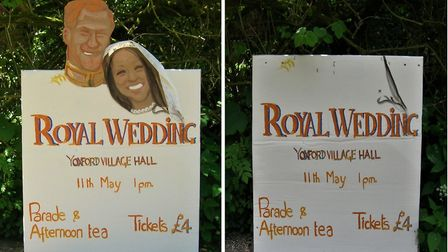 The sign before and after the disappearance. Picture: MICHAEL STENNETT