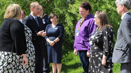The Earl of Wessex is introduced to school staff and guests. Picture: GOODERHAM PR