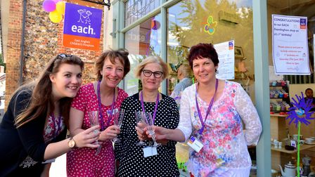 Zoe Martin (L to R) Izzy Cave, Ann Mayhew and Angela Attmere celebrate the first birthday of the eac