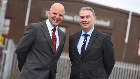 Bob Steward (right) and Mark Hart at Barnes Construction - they have taken over as joint MDs of the