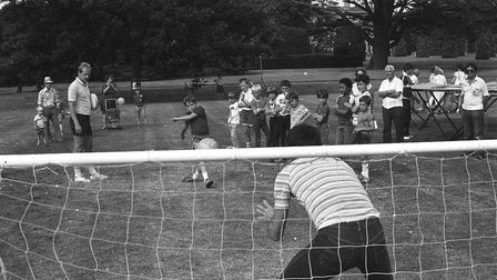 Some of the younger guests enjoying penalty shoot-outs at the Great Ipswich Play Day in 1984. Pictur