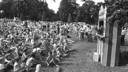 The Punch and Judy show attracted a large crowd. Picture: RICHARD SNASDELL