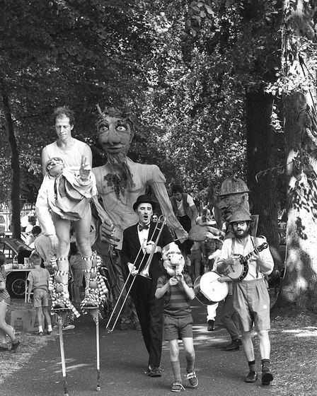 Characters in costumes paraded the park. Picture: RICHARD SNASDELL