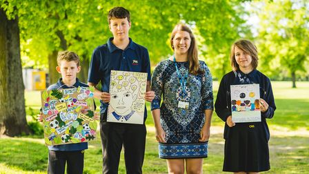 NSFT's Emma Bosier with the winners of the Be Yourself art competition. Picture: NSFT