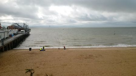 Environment Agency staff carrying out water tests on Clacton beach. Picture: ENVIRONMENT AGENCY
