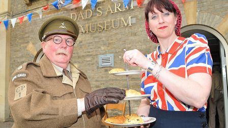 """Opening the tea rooms at Dad's Army museum in Thetford, """"Captain Mainwaring"""", alias Mick Whitman, an"""