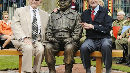 The unveiling of the Captain Mainwaring bronze statue in Thetford, with Dad's Army co-writer David C