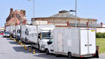 Film crew at the Gorleston Ocean Room to film the new Richard Curtis and Danny Boyle movie. Picture
