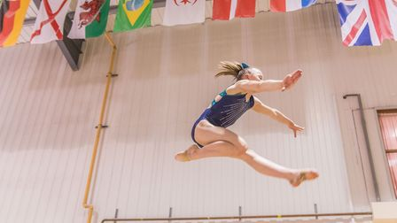 Gymnast Ellie Cornforth takes to the sky at Pipers Vale. Picture: PAVEL KRICKA