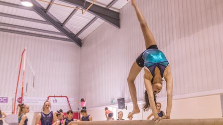 Layla Fillbrook practices on the beam. Picture: PAVEL KRICKA