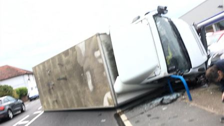 An eye witness captured the dramatic scenes of a crash in Weeley. Picture: TERRY DOYLE