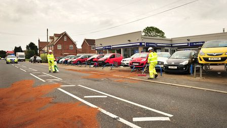 The clear-up operation following a lorry crash in Weeley. Picture: SARAH LUCY BROWN