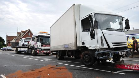 The lorry sustained damage during the crash. Picture: SARAH LUCY BROWN