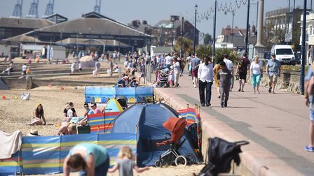 Hot weather in Felixstowe attracted thousands of beach-goers during the first bank holiday in May
