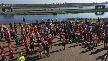 Runners, joggers and walkers congregate around the amphitheatre before the start of last Saturday's