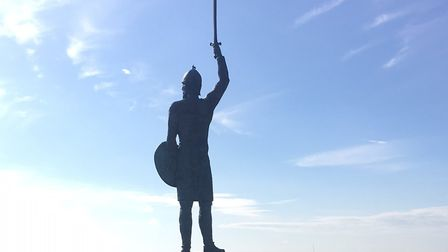 The statue of Byrhtnoth, at the head of the promontory overlooking the River Blackwater. Runners do
