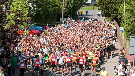 The 778 runners ready at the start of the Woodbridge 10k, on 20 May 2018. Picture: Steve Waller