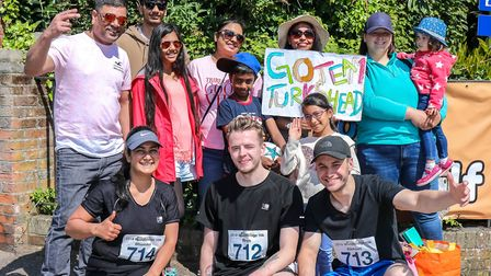 Runners and supporters from the Turks Head, Hasketon, pictured before the Woodbridge 10k, on 20 May