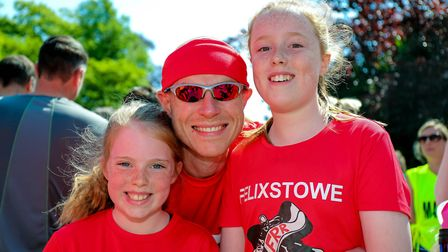Neil Catley and daughters Immy (left) and Livvy pictured ahead of the Woodbridge 10k. Picture: St
