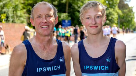 Mark Hayden and son Tom who ran in the Woodbridge 10k are pictured ahead of the race. Picture: St