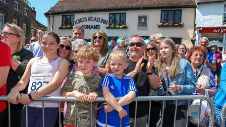 Crowds turned out to cheer the runners in the Woodbridge 10k. Picture: Steve Waller www.stephe